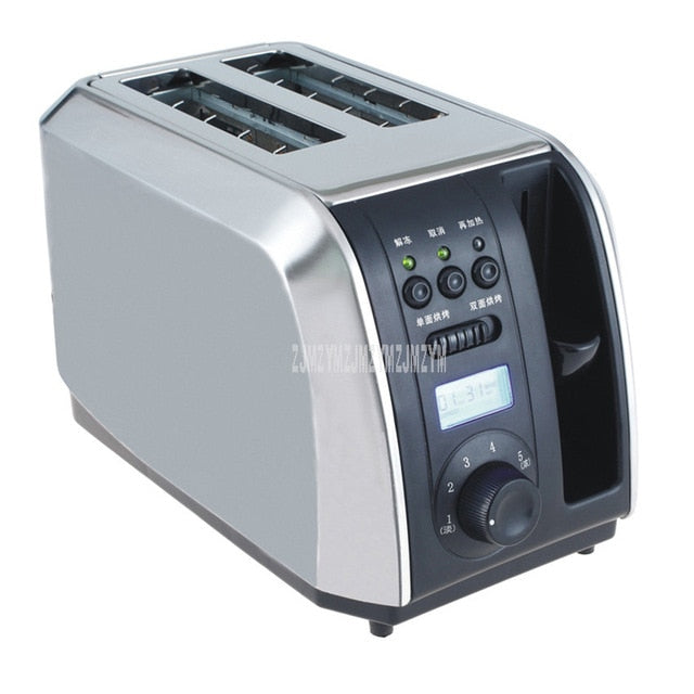 Stainless Steel Single/Double Side Bread Baking Oven Machine 2 Slot Electric Toaster Automatic Breakfast Toast Sandwich Maker