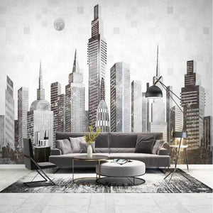 3D Modern abstract city building 3-d Wall Paper Decorative Painting Wallpaper for Living Room Home Improvement Non-woven Wallpapers