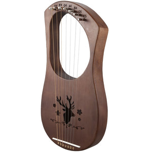 TOP!-7-String Lyre Harp Strings Solid Mahogany Wood String Instrument with Carry Bag Tuning Tool