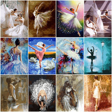 Load image into Gallery viewer, Painting By Numbers Paint Ballet Dancer DIY Canvas Picture Hand Painted Oil Painting Music Girl Home Decoration