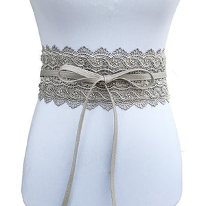 Black White Wide Corset Lace Belt Female Self Tie Obi Cinch Waistband Belts for Women Wedding Dress Waist Band Accessories