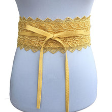 Load image into Gallery viewer, Black White Wide Corset Lace Belt Female Self Tie Obi Cinch Waistband Belts for Women Wedding Dress Waist Band Accessories