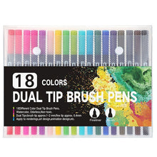Load image into Gallery viewer, 100 Colors Dual Brush Art Markers Pen Fine Tip and Brush Tip Pens for Bullet Journals Adult Coloring Books Calligraphy Lettering