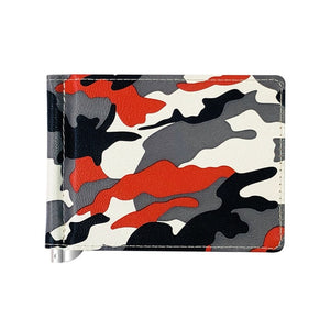 Army Camouflage Men's Leather Money Clip Wallet With A Metal Clamp For Female Small Purse Mini Credit Card Cash Holder