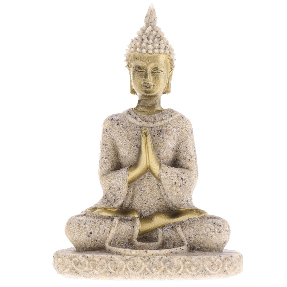 Sandstone Meditation Buddha Statue Sculpture Handmade Figurine Meditation Miniatures Ornament Statue Home D#3