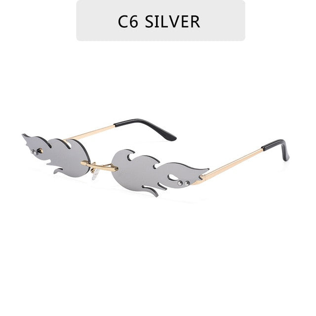 Fashion Fire Flame Sunglasses Women Men Rimless Sunglasses Luxury Brand  Rectangle Vintage Superhero Sun Glasses Clear Gafas de