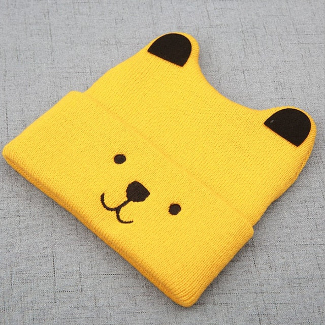 Cartoon Bear Hats For Kids Winter Baby Toddler Girl Boy Warm Cute Beanie Hat 3D Ears Cap Christmas Gift 4 Colors