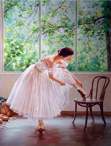 Painting By Numbers Paint Ballet Dancer DIY Canvas Picture Hand Painted Oil Painting Music Girl Home Decoration