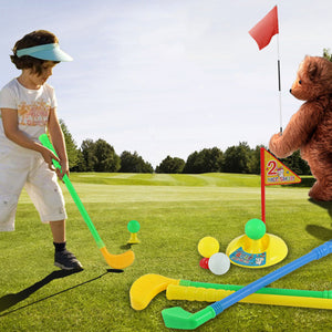 Mini Plastic Golf Rod Toy with 3 Ball Outdoor Golf Game Toy Set for Kids