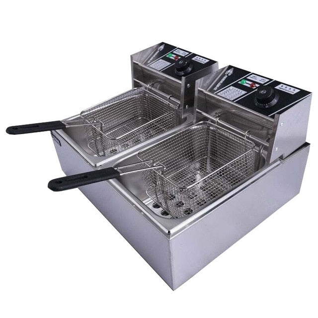 220V Electric Deep Frye 12L Countertop Stainless Steel Large Double Cylinder Electric Fryers