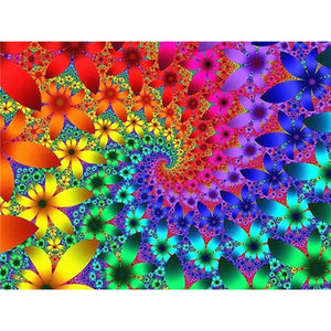 Abstract Psychedelic Flower 5D Crystal Paintings Decorative DIY Home Decoration Round Square Inlay Diamonds Do It Yourself Art Project Relaxation Therapy