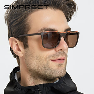 SIMPRECT TR90 Polarized Sunglasses Men 2020 Driver's UV400 Retro Square Sunglasses Vintage Sun Glasses For Men Anti-Glare Oculos