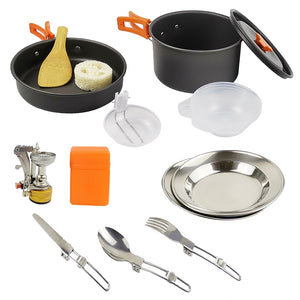 Outdoor Camping Cookware Set Marching Utensils Tableware Cooking Stove Kit Travel Pan Hiking Picnic Camping Tools GL-1126