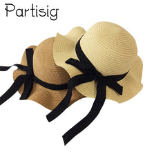 Load image into Gallery viewer, Girls Summer Cap Black Ribbon Decorate Wavy Straw Hat For Girls Children Panama Hat Kids Sun Cap Baby Beach Hats