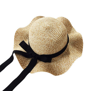Girls Summer Cap Black Ribbon Decorate Wavy Straw Hat For Girls Children Panama Hat Kids Sun Cap Baby Beach Hats