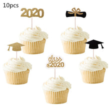 Load image into Gallery viewer, Graduation Party Decor Supplies Glitter Gold Bachelor Cap Cake Topper Class Of 2020 Cupcake Topppers Congrats Grad Balloons 2021