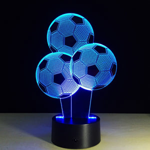 7 Colors Change LED 3D Football Light Soccer Touch Table Bedroom Desk Lamp Decor Birthday Christmas Gift Sports Entertainment