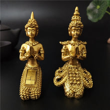 Load image into Gallery viewer, Golden Meditation Buddha Statue Thailand Buddha Sculptures Figurines Resin Crafts Ornament For Home Garden Flowerpot Decoration