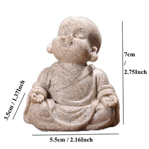 Cute Little Monk Statue 6cm 7cm Sandstone Adorable Thailand Buddha Statuettes Lovely Figurine Home Decor Creative Gift