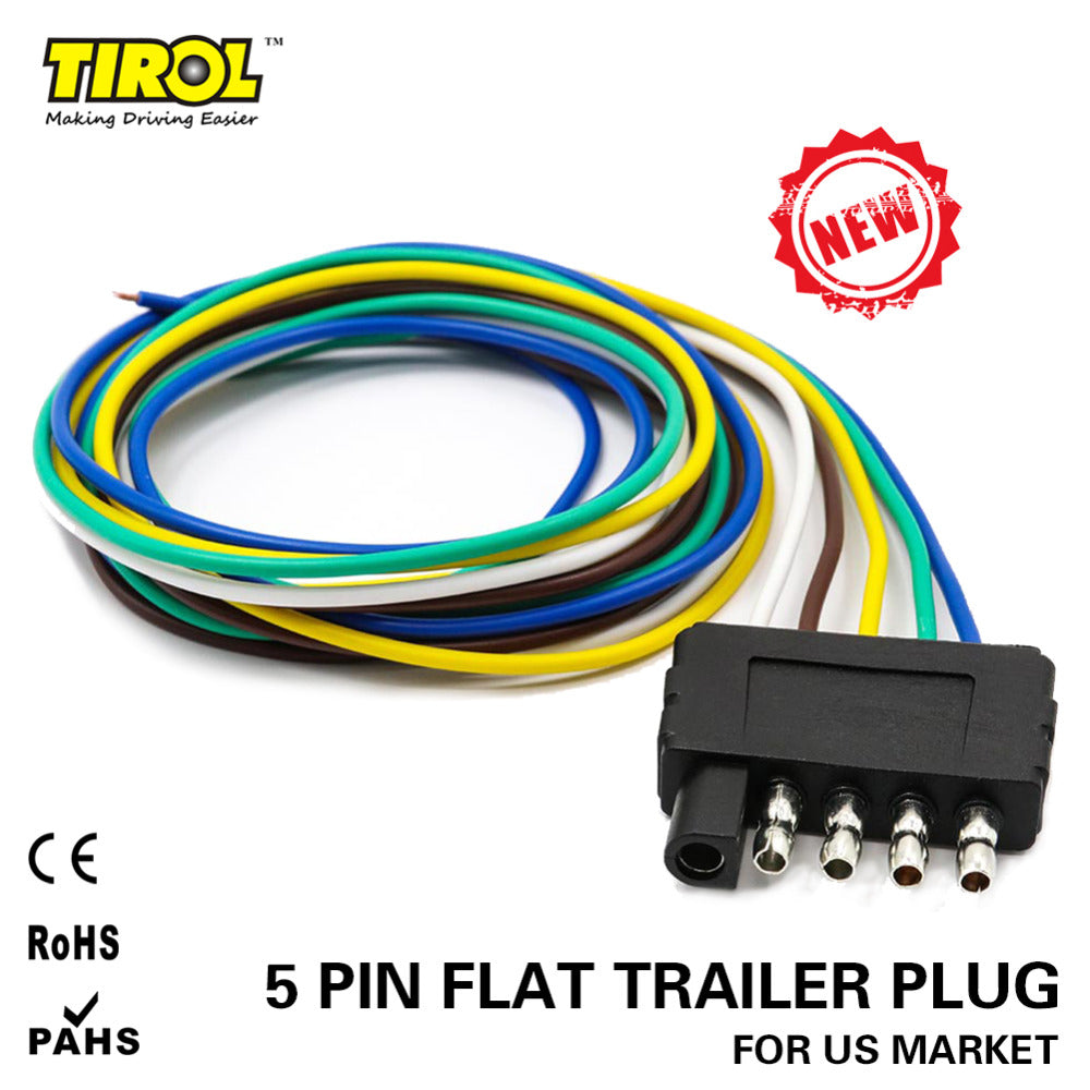 5-Way Flat Truck Trailer Wire Harness Extension Connector Plug with 36 inch Cable Length End Connector