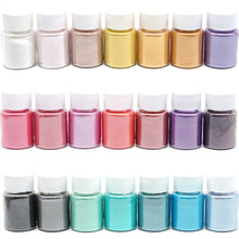 Load image into Gallery viewer, 21 Colors Pearl Pigment Powder Mica Pearlescent Colorants Resin Dye Jewelry Making Tool For Jewelry Accessories