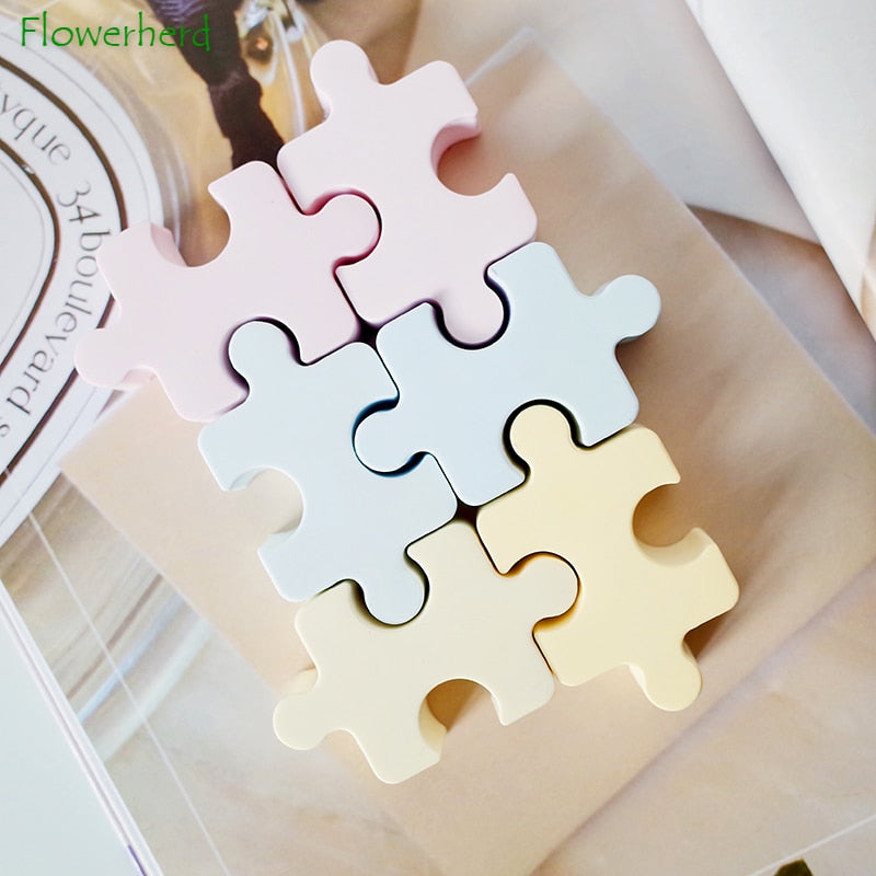 Jigsaw Puzzle Silicone Soap Mold for Soap Making Resin Mold Handmade DIY Ice Cube Tray Cake Chocolate Candy Jello Pudding Mold
