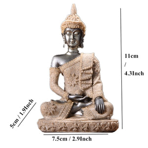 Buddha Statue Nature Sandstone Thailand Buddha Sculpture Hindu Fengshui Figurine Meditation Miniature Home Decor