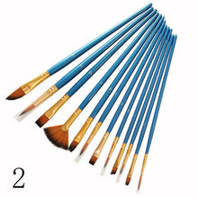 Load image into Gallery viewer, 12Pcs Nylon Art Brushes Watercolor Painting Brush Variety Style Wooden Handle Oil Acrylic Painting Brush Pen Art Supplies