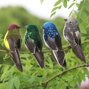 Decorative Feathered Birds Clip On Animal Statue Sculptures Figurines for Home Desk Shelf Mantel Yard Lawn Patio Party Favors