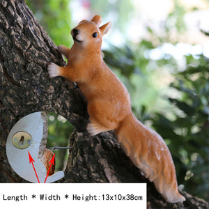 Simulation Squirrel Statue Garden Decoration Outdoor Lawn Tree Hanging Sculpture Home Gardening Animal Statue Garden Decor Craft