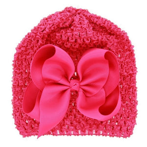 MAYA STEPAN 1 Pieces New FashionBow Hollow Baby Girls Hat Newborn Elastic Baby Turban Hats For Girls Cotton Infant Beanie Cap