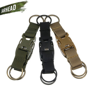 High Quality Tactical Multifunction Buckle Double Key Chain Outdoor Nylon Quick Release Buckle Keyring Backpack Belt Hook