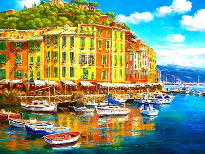5D Diamond Painting Landscape Full Square 5-D Diamond Art Embroidery Town Mosaic Handmade Home Decoration Gift