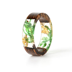 Handmade Wood Resin Ring Dried Flowers Plants Inside Jewelry Resin Ring Transparent Anniversary Ring for Women