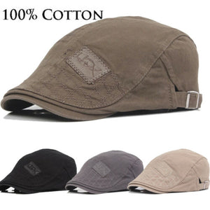 Mens Hat Solid Cotton Cap Golf Driving Summer Sun Flat Newsboy Caps