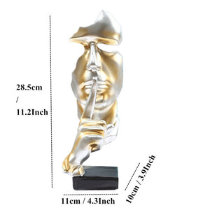 28.5cm Resin Silence is Gold Statue Abstract Mask Statuettes Europe Mask Sculpture Figurine for Office Vintage Home Decor