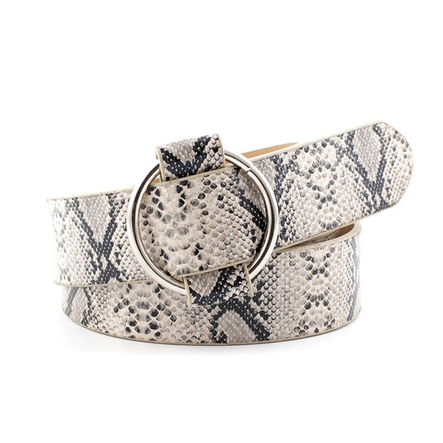 PU Leather Circle Buckle Non-porous Belt Leopard Print Snakeskin Pattern Zebra Patterns Rocker Fashion waistband 92