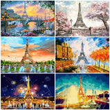 AZQSD Tower Arcylic Painting By Numbers On Canvas Framed Wall Pictures Art For Living Room Home Decoration Frameless