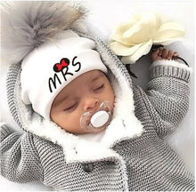 Load image into Gallery viewer, newborn cotton hats  baby pom pom  photo props mrs mr children's kids hat  boy accessories toddler girl cap bonnet  baby hats