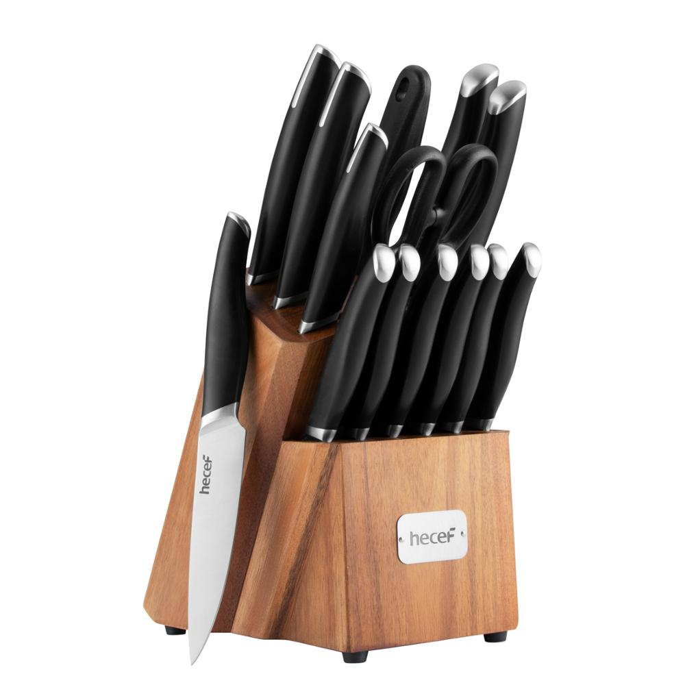 Hecef 15 PCS Premium Cooking Knife Set With Acacia Wood Block, Black