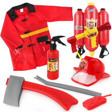 Load image into Gallery viewer, Children Simulation Plastic Pretend Toy Fireman Cosplay Accessories Sets With Axe and Extinguiher for Kids Gift