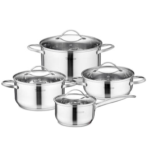 Velaze Cookware Set Stainless Steel 8-Piece Cooking Pot Pan Set Induction Safe Saucepan Casserole with Glass lid Non Stick