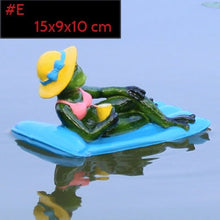 Load image into Gallery viewer, Resin Floating Bamboo raft Frog Statue duck Sculpture Outdoor Garden Pond Decorative Home  Fish Tank Garden Decor Desk Ornament