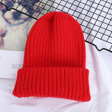 Load image into Gallery viewer, Winter Solid Color Wool Knit Beanie Women Fashion Casual Hat Warm Female Soft Thicken Hedging Cap Slouchy Bonnet Ski