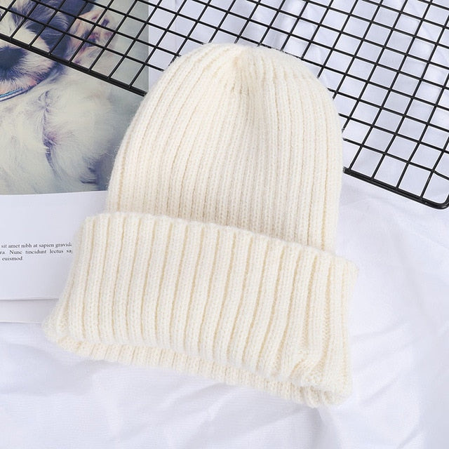 Winter Solid Color Wool Knit Beanie Women Fashion Casual Hat Warm Female Soft Thicken Hedging Cap Slouchy Bonnet Ski