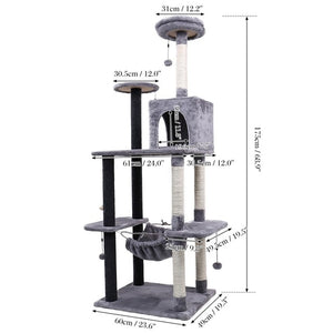 Pet Cats Tree House Condo Perch Entertainment Playground Stable Furniture for Cats Kittens Multi-Level Tower for Large Cats Cozy