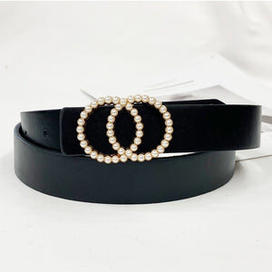 Ladies high quality belt luxury design pearl inlay belt famous brand fashion wild jeans dress waist luxury decoration belt