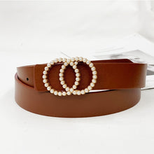 Load image into Gallery viewer, Ladies high quality belt luxury design pearl inlay belt famous brand fashion wild jeans dress waist luxury decoration belt