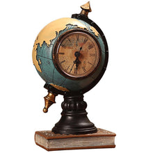 Load image into Gallery viewer, Desktop Ornament Vintage Clock Globe Model Clock Home Living Room Cabinet Porch Seat Clock Office Decorations Ornaments