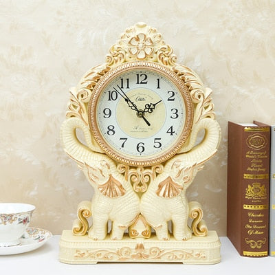 Desktop Silence Retro Night Desk Plastic Clock Office Table Alarm Decoration Mute Pendulum Bedroom Vintage Clock LY454